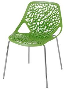 Plastová židle s chromovým podnožím