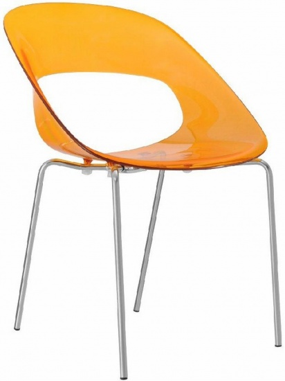 Průhledná židle oranžová